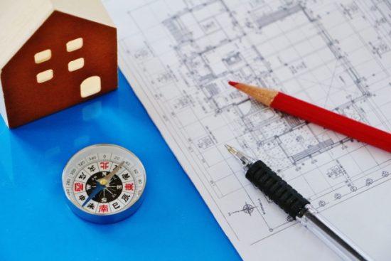 建築図面で図心を出す手順のイメージ図
